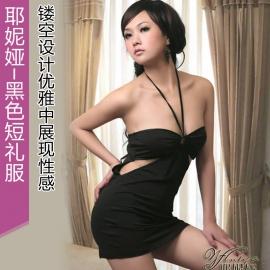 耶妮娅-黑色短礼服(X3148)镂空设计优雅中展现性感