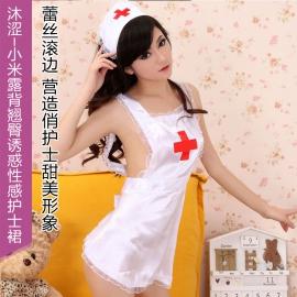沐涩-小米露背翘臀诱惑性感护士裙31107