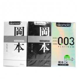 日本冈本组合套装(白金超薄6片装A2190、极限超薄10片装A2380、极限超薄至尊10片装A2205)