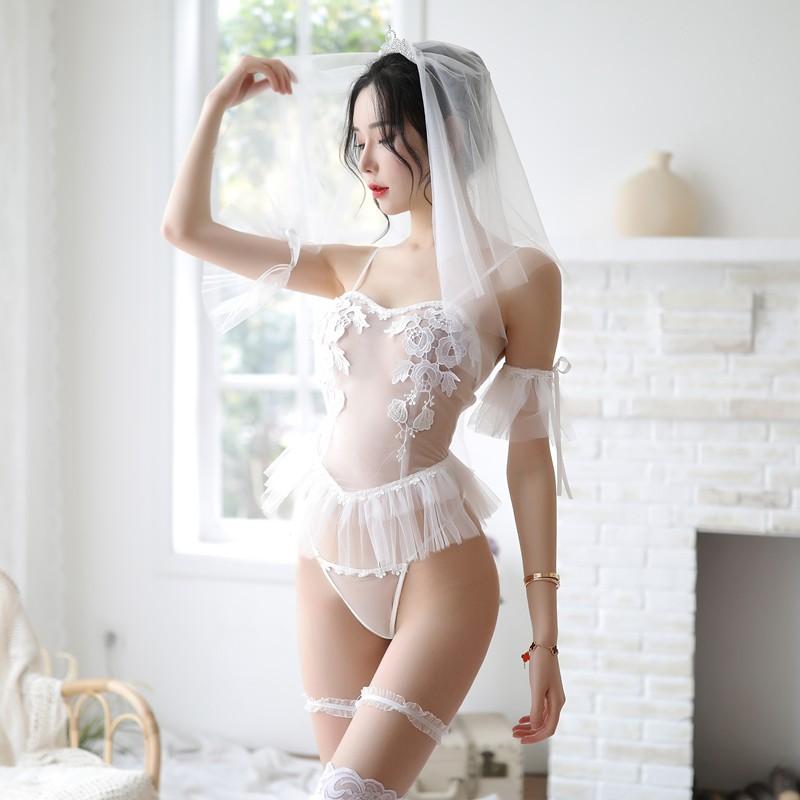 长夜漫漫-性感新娘白色婚纱装含丝袜